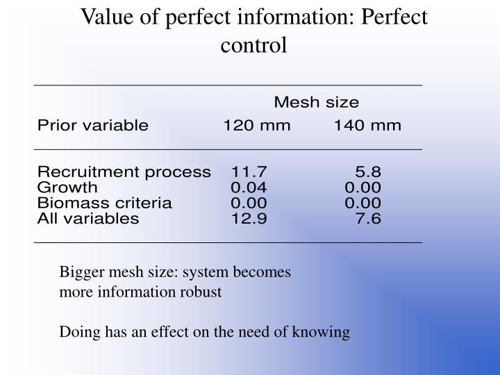 Value of perfect information: Perfect control