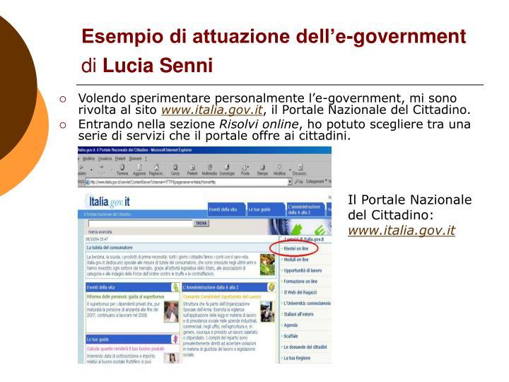 Esempio di attuazione dell'e-government