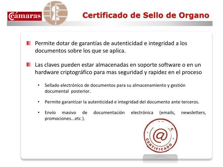 Certificado de Sello de Organo
