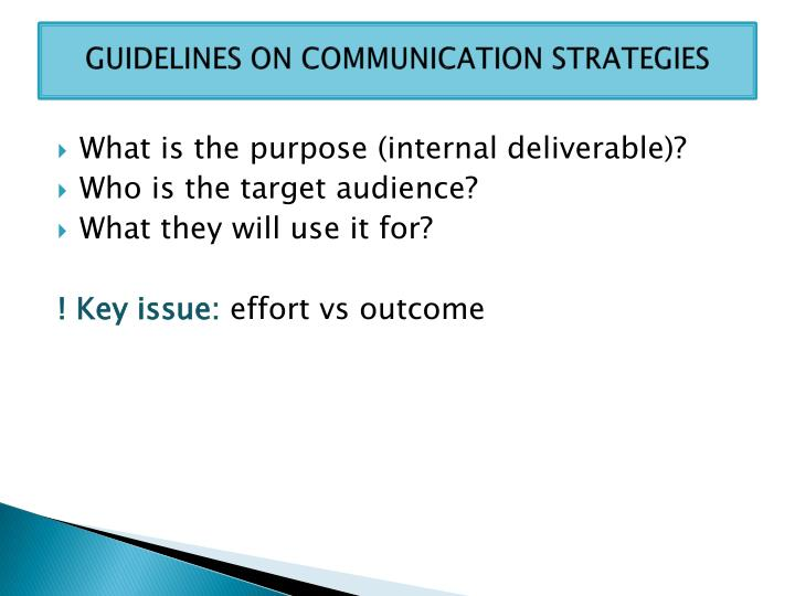 GUIDELINES ON COMMUNICATION STRATEGIES