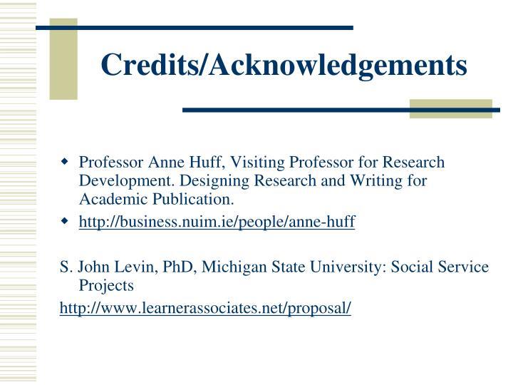 Credits/Acknowledgements