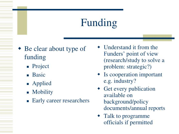 Be clear about type of funding
