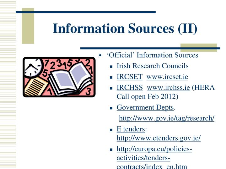 Information Sources (II)