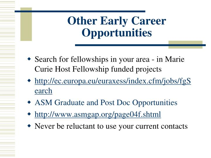 Other Early Career Opportunities