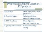 proposal evaluation criteria 1 eu projects
