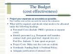 the budget cost effectiveness