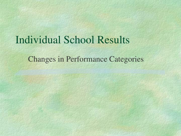 Individual School Results