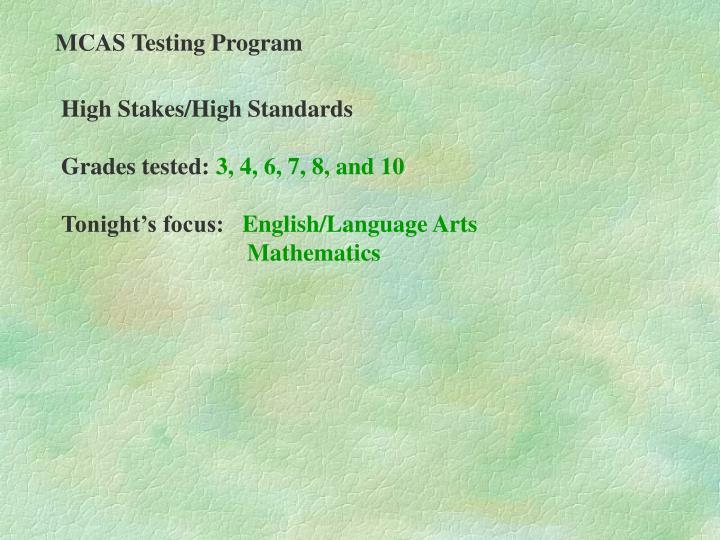 MCAS Testing Program