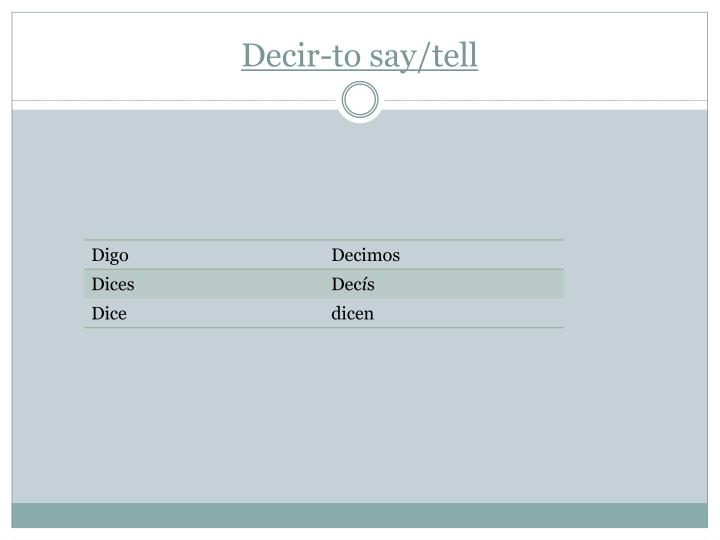 Decir-to say/tell