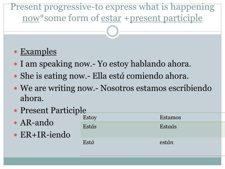 Present progressive-to express what is happening