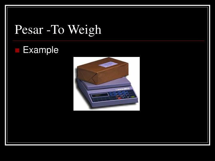 Pesar -To Weigh