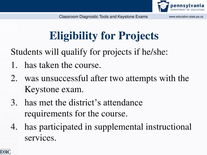 Eligibility for Projects