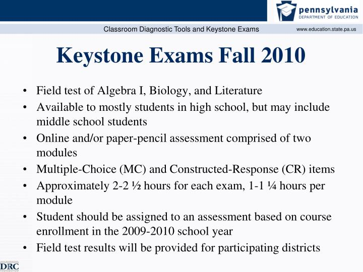 Keystone exams fall 2010