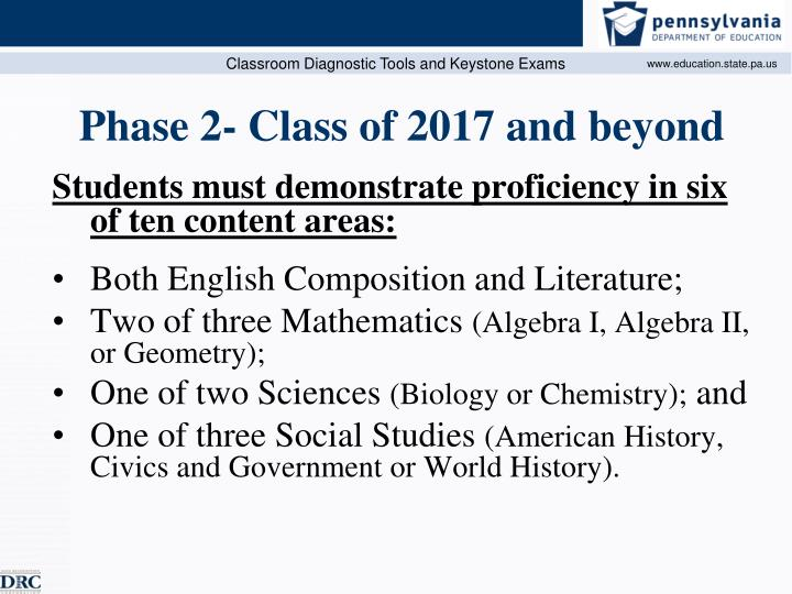 Phase 2- Class of 2017 and beyond
