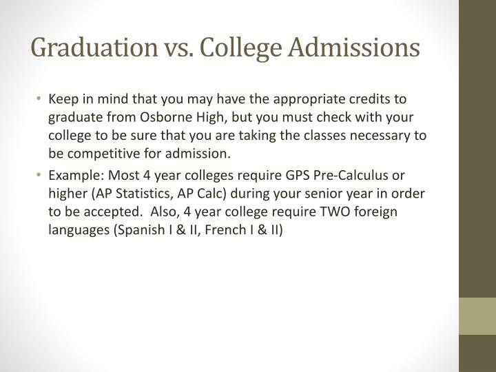 Graduation vs. College Admissions