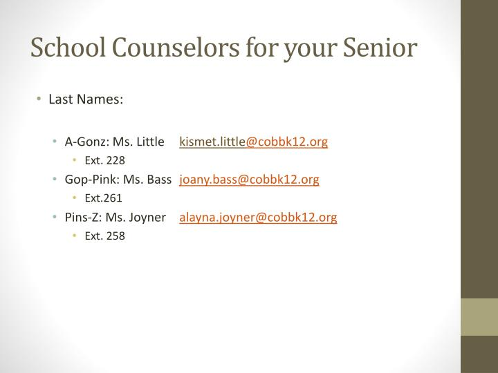 School counselors for your senior