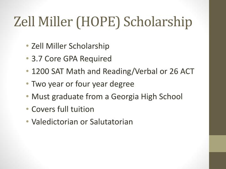 Zell Miller (HOPE) Scholarship