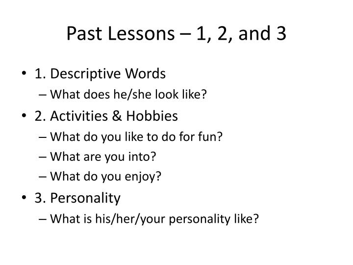 Past lessons 1 2 and 3