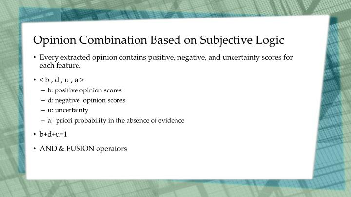 Opinion Combination Based on Subjective Logic