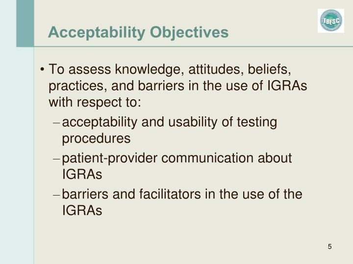 Acceptability Objectives