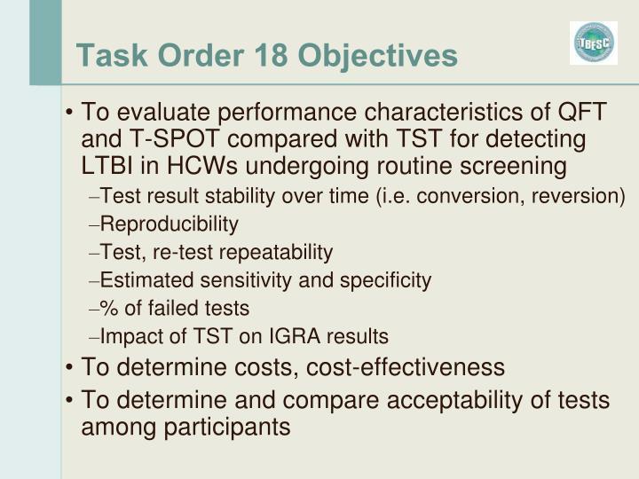 Task Order 18 Objectives