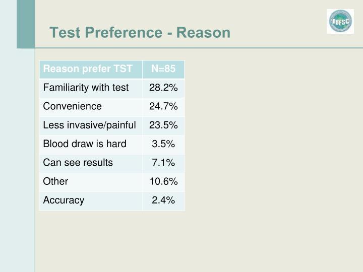 Test Preference - Reason