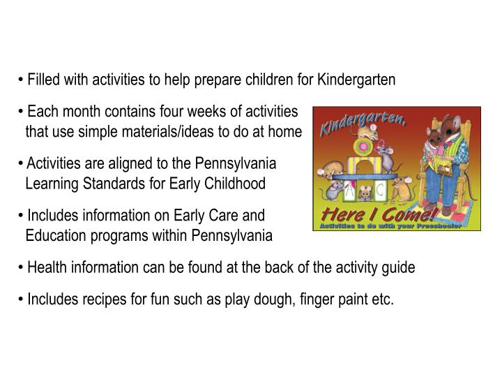 Filled with activities to help prepare children for Kindergarten
