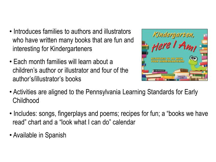 Introduces families to authors and illustrators