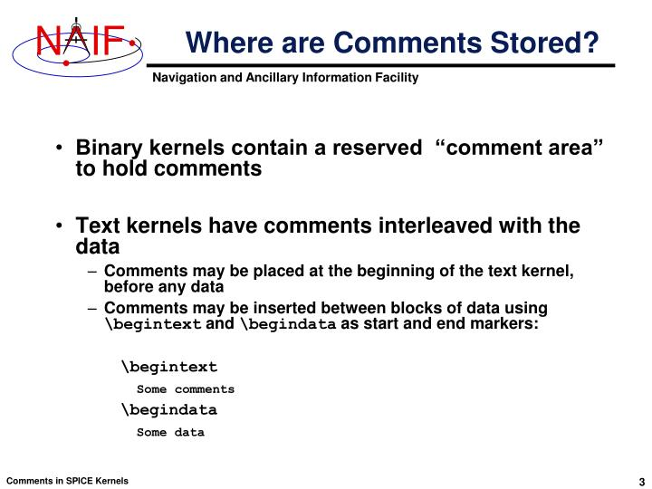 Where are Comments Stored?