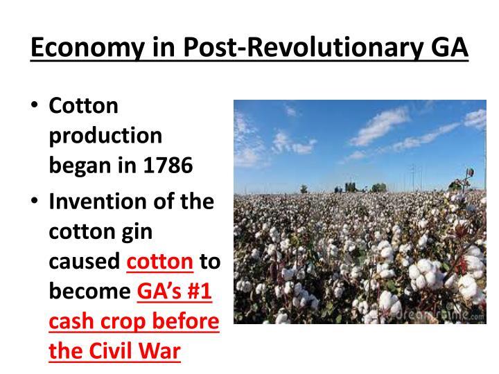 Economy in Post-Revolutionary GA