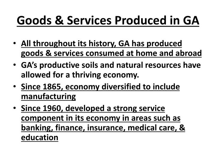 Goods & Services Produced in GA