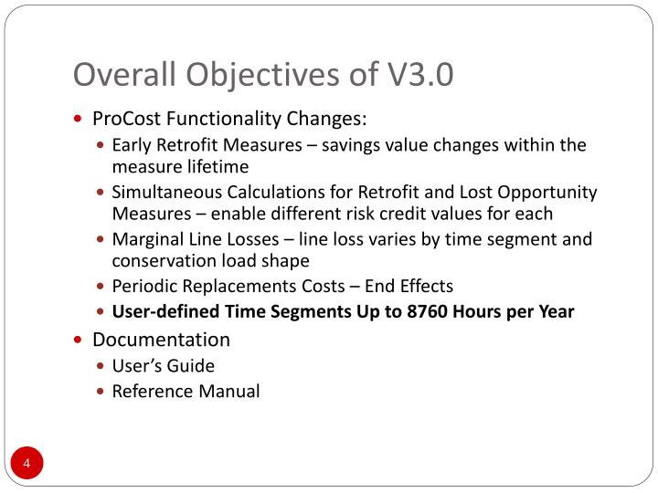 Overall Objectives of V3.0