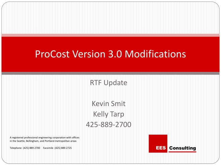 Procost version 3 0 modifications