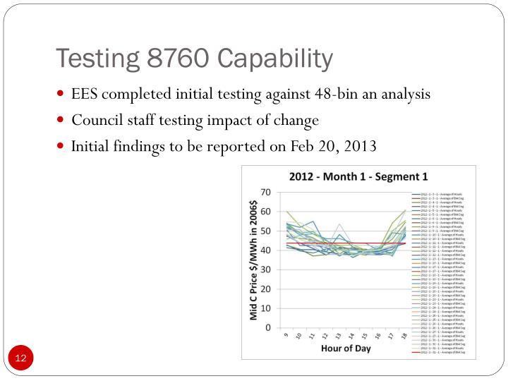 Testing 8760 Capability