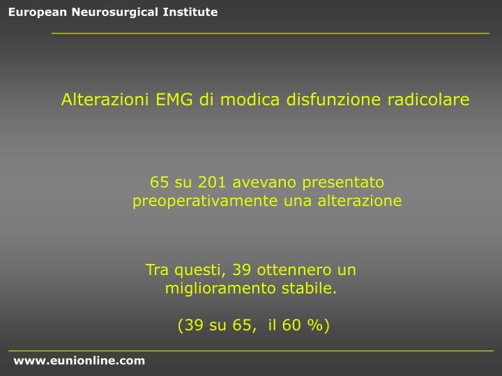 Alterazioni EMG di modica disfunzione radicolare