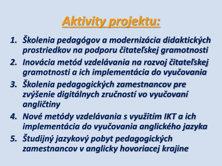 Aktivity projektu: