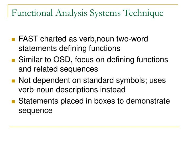 Functional Analysis Systems Technique