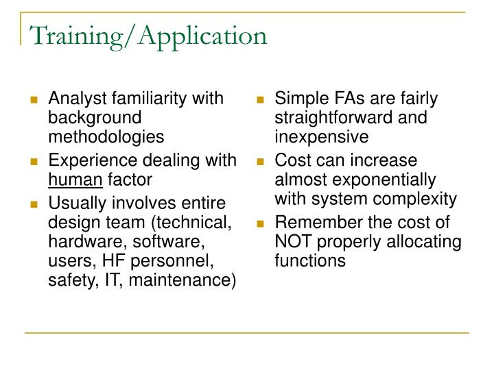 Analyst familiarity with background methodologies