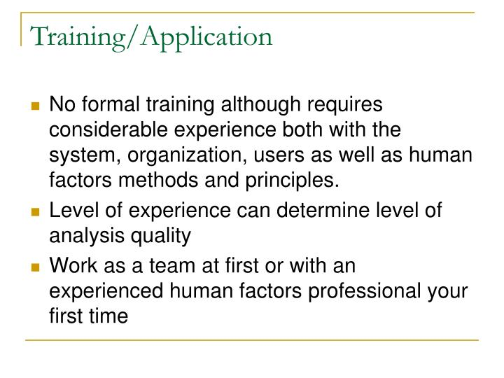 Training/Application