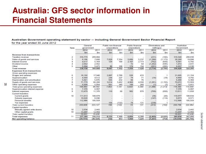 Australia: GFS sector information in Financial Statements