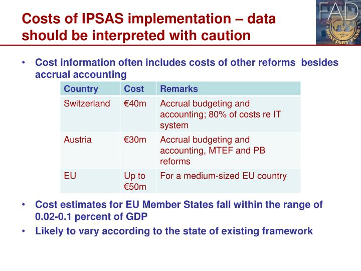 Costs of IPSAS implementation – data should be interpreted with caution