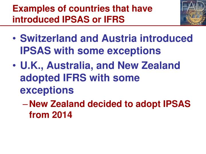 Examples of countries that have introduced IPSAS or IFRS