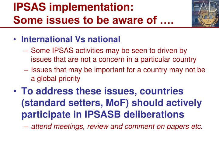 IPSAS implementation: