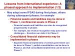 lessons from international experience a phased approach to implementation 1 2