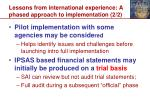 lessons from international experience a phased approach to implementation 2 2