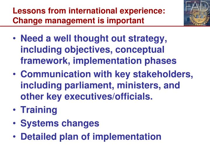 Lessons from international experience: