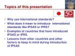 topics of this presentation