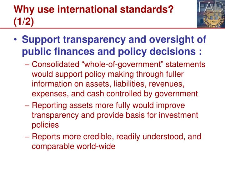 Why use international standards?