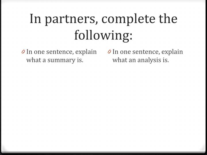 In partners, complete the following: