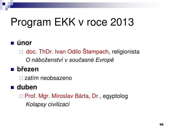 Program EKK v roce 2013